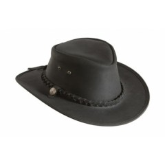 Mongo Leather Country Hat Zwart